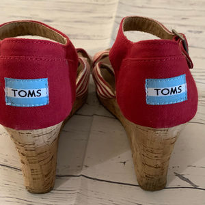 Toms Shoes - TOMS Red & White Ankle Strap Wedge Shoes Size 9.5
